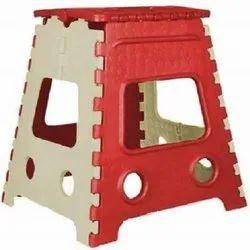 18 Inch Red & White Plastic Folding Stool