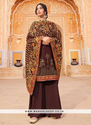 Charming Brown Color Function Wear Embroidered Salwar Kameez