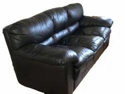 Black Modern Rexine Three Seater Office Sofa, 5 inch