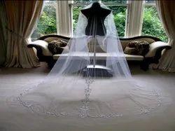 White Net Embroidered Bridal Veil, Size: Standard