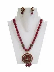 Fashion Pacchi Art Work Necklace Pendant Set With Red Ruby Beads.