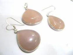 925 Sterling Silver Stamped Pendant Set Rose Quartz Stone Gemstone Pendant & Earrings Jewellery-