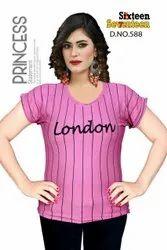 Half Sleeves Printed Ladies t Shirt, Size: XL, Casual