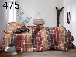Status Double Bed Checkered Bedsheet