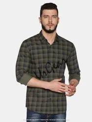 AKR Industries Green,Blue UrGear Mens Slim Fit Cotton Checked Shirt