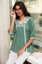 Janasya Women'S Green Cotton Flex Top (J0196)