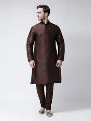 Silk Casual Wear Men Kurta And Churidar Set, Handwash, Size: 36-44