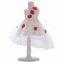 Baby Girl's Elegant White Dress with Red roses