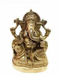 2.3kg Brass Golden Ganesha Statue, Size: 8x5.5x34inch