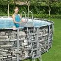 Bestway 18ft.Power Steel Round Above Ground Pool with Stone Effect & Accessories