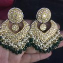 Yellow Gold Natural Uncut Diamond Polki Stone Earrings Set