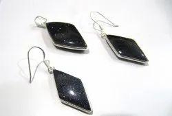 925 Sterling Silver Stamped Pendant Set Blue Shiny Shimmering Gemstone Pendant