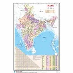 English Word Political and Maharashtra Maps Hard Laminated Charts, Size: 20 X 18 X 2 cm