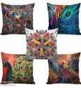 Homvictry Heavy Jute Cushion Covers , Set Of 5 , Size - 16 Inch X 16 Inch