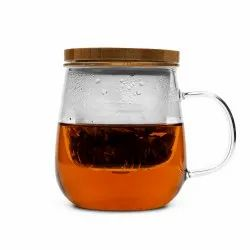 Clear Plain Glass Infuser Mugs With Wooden Lid, For Office,Home, Capacity: 400ml