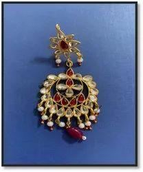 Golden Fancy Fashion Earrings, Size: Free Size