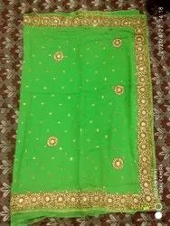 Heavy border hand embroidery georgette saree