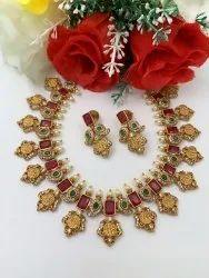 Wedding Golden Imitation Jewellery Necklace Set