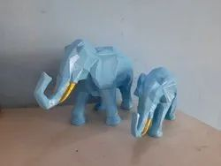 Polyresin Mother and Baby Elephant Statue, For Interior Decor