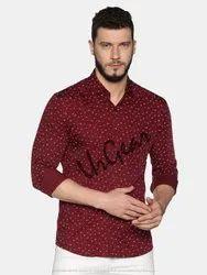AKR Industries Maroon Dotted UrGear Mens Slim Fit Cotton Shirt
