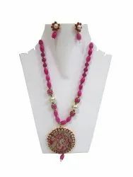 Fashion Jewellery Necklace Flower Printed Pendant Set Pink Beads