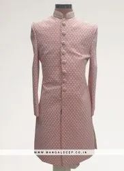 Charming Pink Color Function Wear Men Indo Western Kurta Pajama