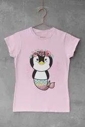 6 Sprikles Cotton Girls Penguin Mermaid Printed T Shirt
