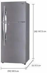60 X 60 X 85 Centimeters GREY LG 260 L 3 Star Smart Inverter Frost Free Double Door (GL-I292RPZL