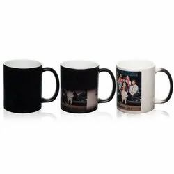 Black Ceramic Magic Color Changing Mug - 11OZ For Gifting, Capacity: 350ml