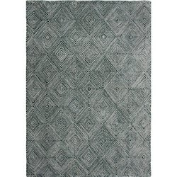 Hand Tufted Grey Green Asymmetric Wool Viscose Area Rug And Carpets
