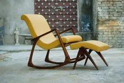 Upper Rack Teak Wood Brown Wooden Rocking Chair, Finish: Natural Wood