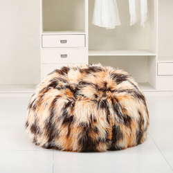 American Style Furniture Living Room Plain Rabbit Fur Bean Bag With Beans Refill Beanbag Cover Sofa
