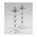 Pair Round Crystal Candle Stand