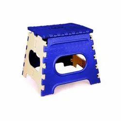 12 Inch Blue & Cream Plastic Folding Stool
