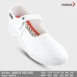 Female Poddar Girls Ankle White School Shoe, Size: 7*10 11*13 1*3 4*6 7*8