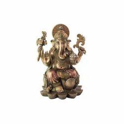 1.5 Feet Long Copper Finish Lord Ganesha Idol, Color-Copper Finish, Size-Medium