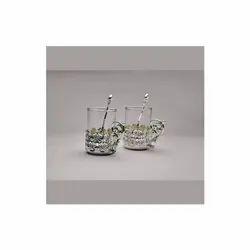Peacock Leaf Design Silver Coffee Mug, Set Of 2