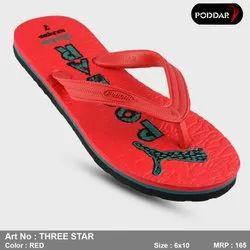 Multicolor Red Poddar Mens Hawai Slipper, Model Number: Three-star
