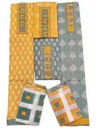 Yellow Printed Cotton Unstitched Suits