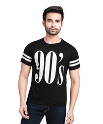 Mens Black Half Sleeve Printed T Shirt