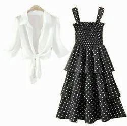 Black Printed Fancy Partywear Women Dresses