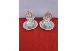 White Silver Plated Diya, Size: 4 Inches Height : 3 Inches