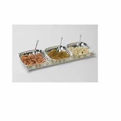Square Fluted Bowls With Tray ( Set Of 3 )