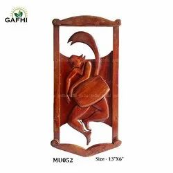 Brown Hand Made Wooden Crafts ( Dhaki), For Decoration, Size: 13
