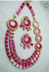 Silk thread long necklace set