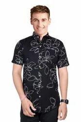 Collar Neck Black Mens Half Sleeves Printed Cotton Shirt, Handwash, Size: M - 4XL