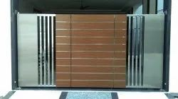 Polished Stainless Steel Swing Gate, For Home
