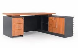 Wooden L Shape Office Executive Table, Brown, Size: 1800X900X750