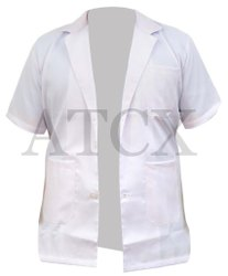 atcx Half Sleeves White Doctor Apron, Size: Large