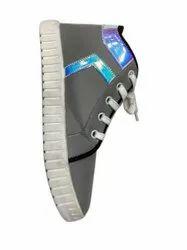 Plain Ladies Grey Canvas Daily Wear Shoes, Size: 5